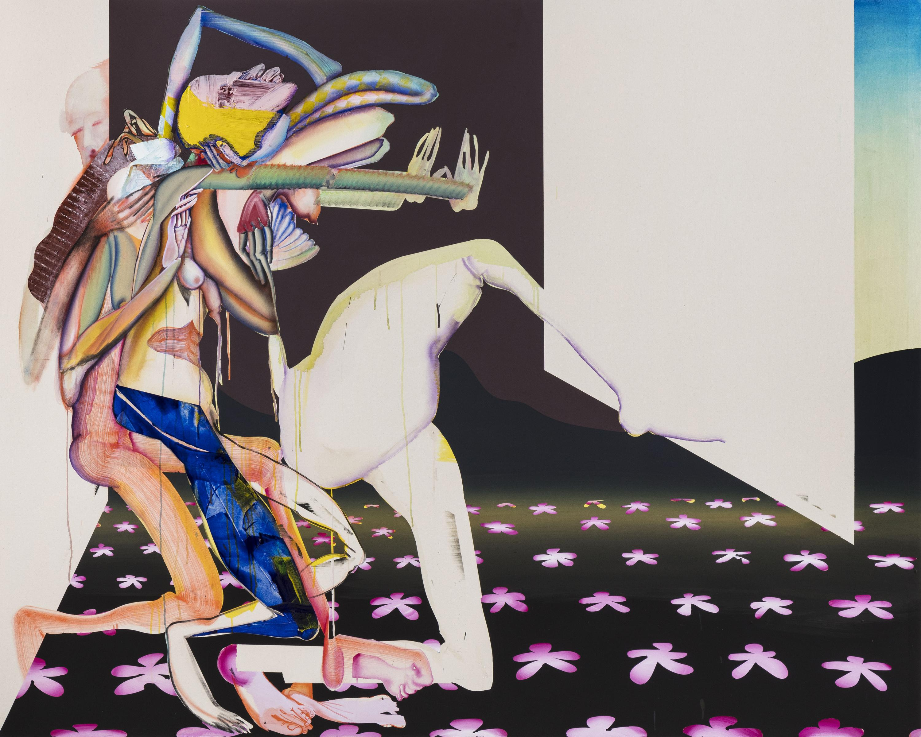 A dynamic composition of many colors and patterns shows two humanoid figures that are complexly intertwined.