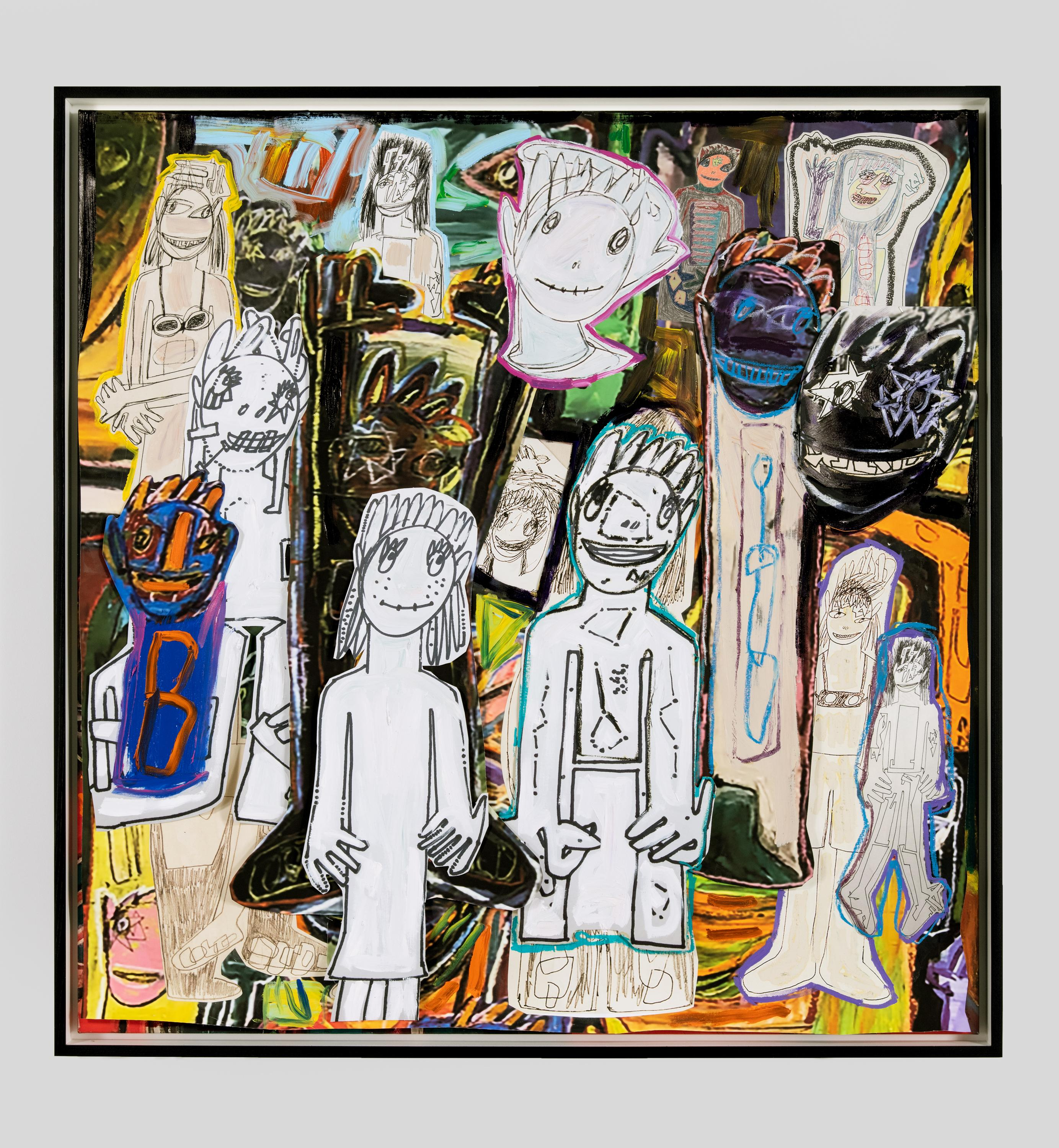 A collaged artwork consists of more than a dozen human figures and faces against a dark background. They are illustrated in a childish fashion.
