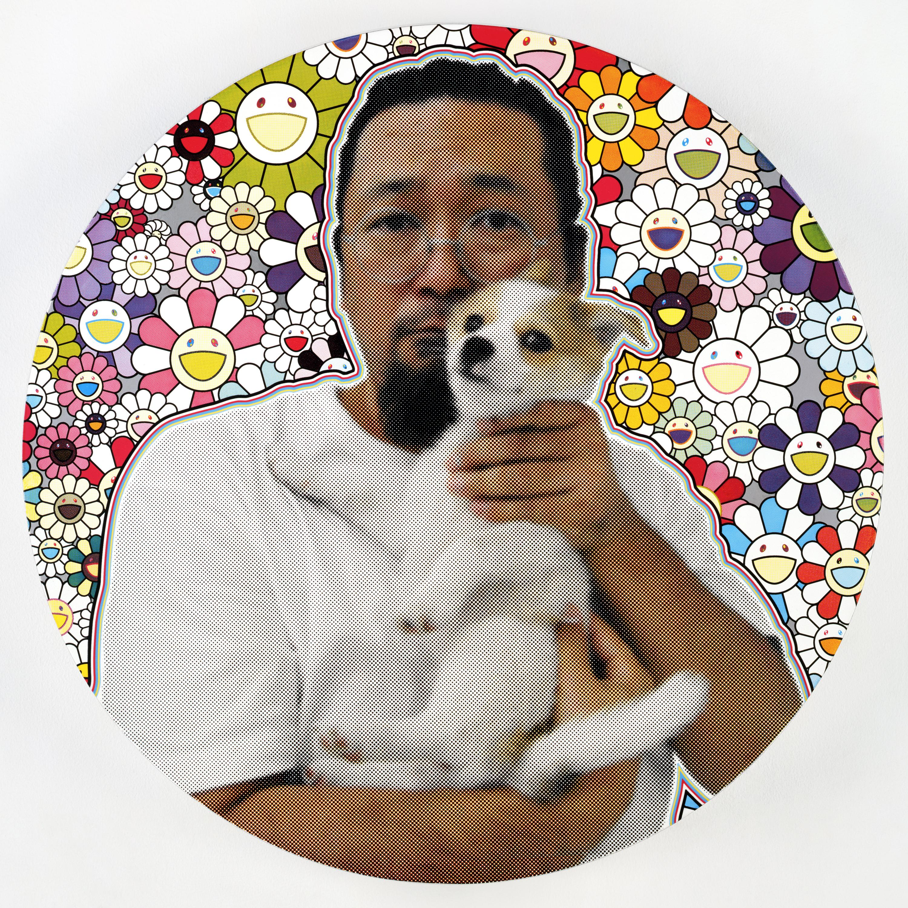 A dark-haired person with glasses and a goatee holds a small dog. Their photo appears against a background of vividly colored smiling daisies.