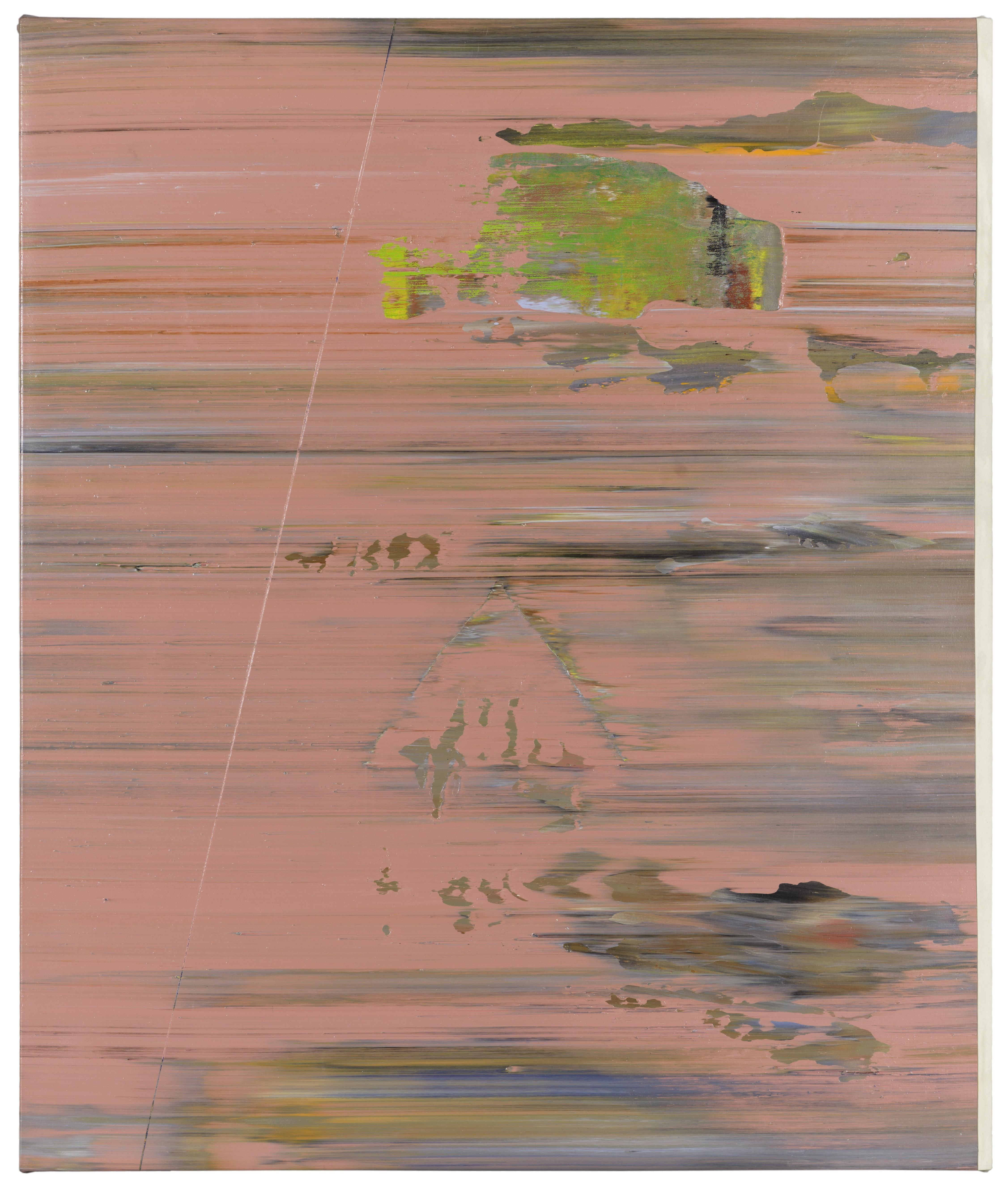 Intermittent, somewhat faded, horizontal streaks of grayish blue, orange, and green are against a pink background with faint hints of shapes coming through.