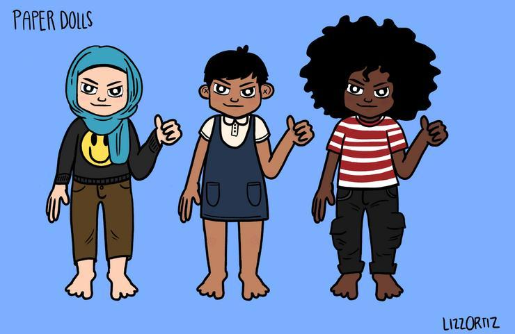 Three cartoon figures, each with different skin tones, apparel, and hair, stand in a row with left hands raised in a thumbs-up gesture.