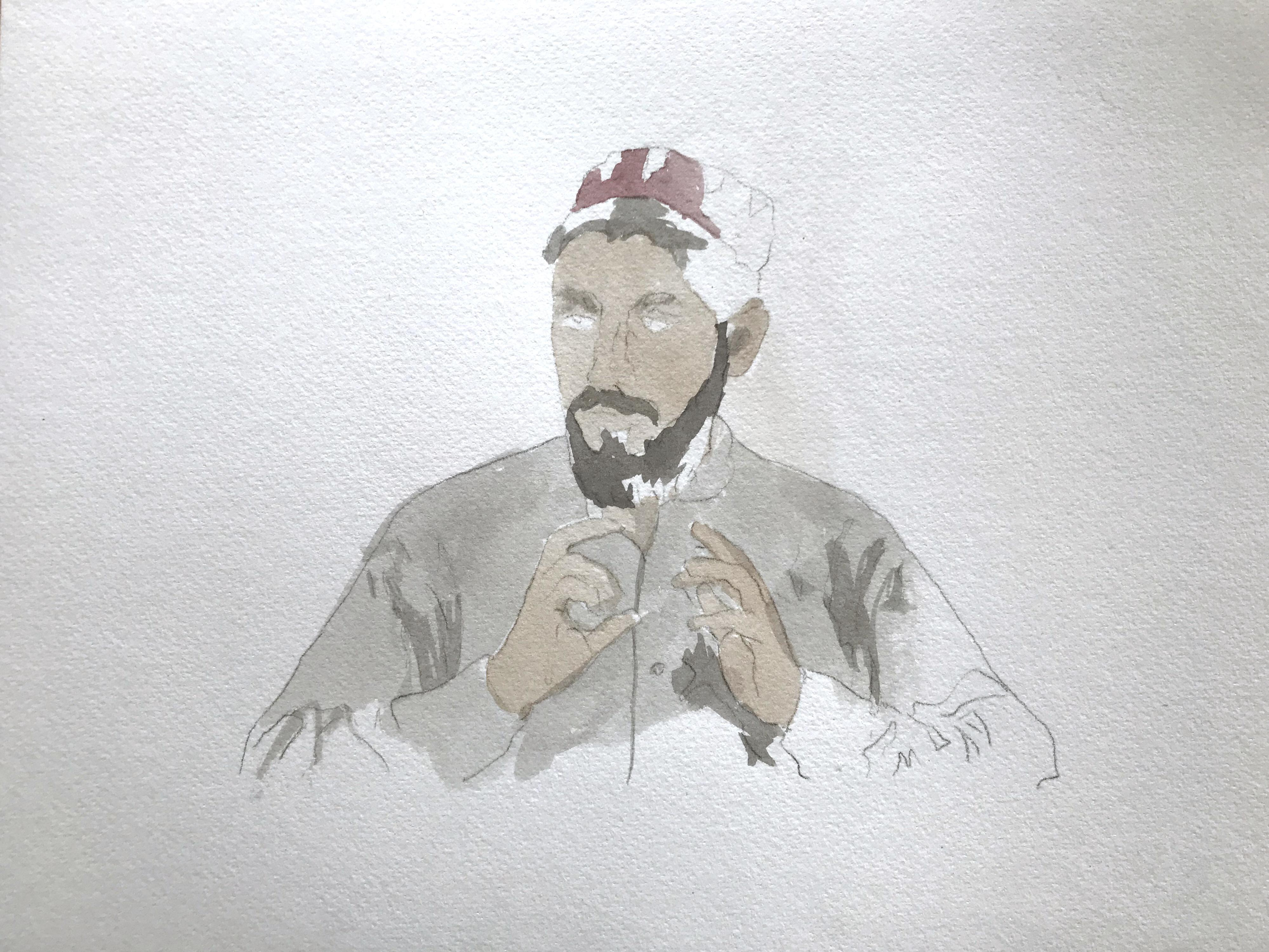 a watercolor of bearded man gesticulating