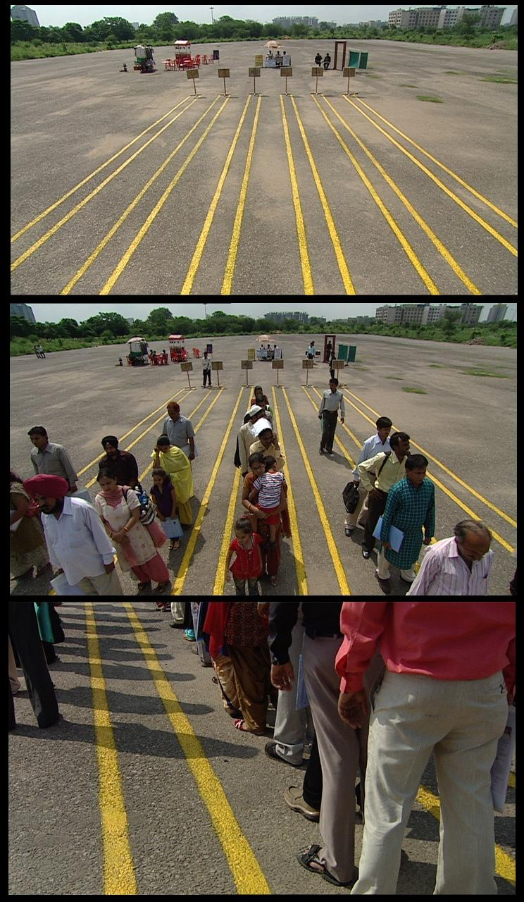 Three film stills showing people lined up in a parking lot